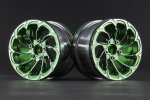 Aluminum 2.2'' 10-Spokes Cyclone Style Wheels - Green