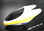 Glass Fibre Canopy (White w/ Yellow and Blue and  Red Stripe) parts For Align Trex T-rex 450SE V2 - Jazrider Brand [JR-HAG-TX450-111]