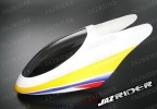 Glass Fibre Canopy (White w/ Yellow and Blue and Red Stripe) parts For Align Trex T-rex 450SE V2 - Jazrider Brand [JR-HAG-TX450-116]